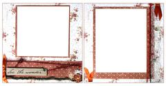Delicate Orange Scrapbook Frame Template Stock Photos