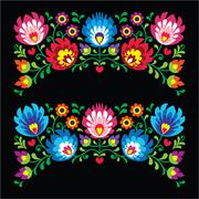 Polish floral folk embroidery patterns for card on black - Wzory Lowickie - stock illustration