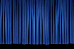 Bright Blue Stage Theater Drapes - stock photo