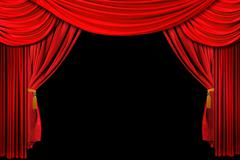 Red Draped Stage Background - stock photo