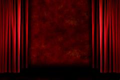 Red old fashioned grungy stage drapes - stock photo
