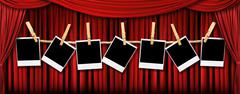 Red Theater Drapes and Polaroids With Dramatic Light and Shadows Stock Photos