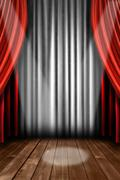 Vertical Stage Drapes With Spot Light Stock Photos