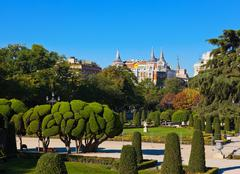Park of the Pleasant Retreat in Madrid Spain Stock Photos