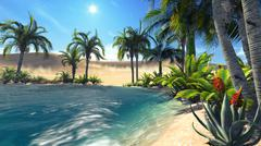 Oasis in the desert - stock illustration