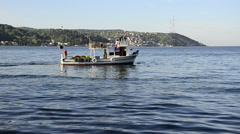Fisherman boat sail and hunt fish with net at Istanbul Stock Footage