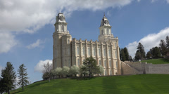 Manti Utah Mormon Temple hill clouds 4K 014 Stock Footage