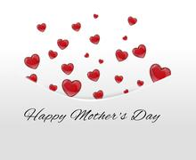 Red hearts tucked away in pocket,envelope on a white background on mother's d Stock Illustration