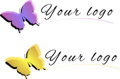 Illustration of yellow and violet butterfly as logo isolated on a white backg Stock Illustration