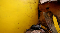 Collapsed roof of an old dressing room - stock footage