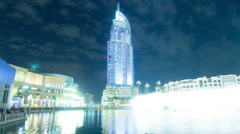 Adress hotel night  time lapse from dubai Stock Footage