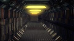 Long straight empty enclosed corridor spacecraft Stock Footage