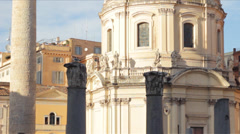 Trajans Column and Church Tilt Stock Footage