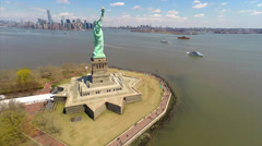 Stock Video Footage of Aerial video of the Statue of Liberty