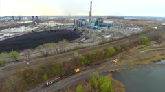 Aerial video of a Power plant in New Jersey Stock Footage