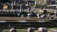 Ruins of Roman Forum Tilt Up Stock Footage