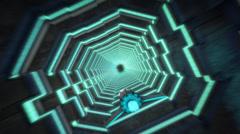 Sci-Fi Jet long open corridor space stars Stock Footage