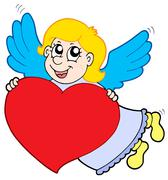 Smiling cupid with heart - stock illustration