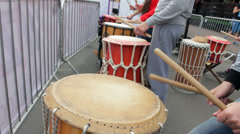 Street Performers Beat out Rhythm on Drums HD Stock Footage