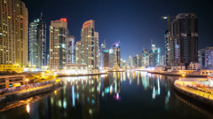 Stock Video Footage of dubai marina time lapse  with boats
