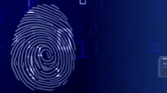 Motion graphic of fingerprint being scanned for personal information Stock Footage