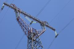 Power transmission tower, view from below Stock Photos