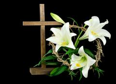 Easter lilies and crown Stock Photos