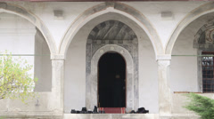 Entrance to prayer hall of the mosque Stock Footage