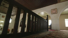 Prayer hall interior of Big Khan Mosque in Bakhchysaray, Crimea - stock footage