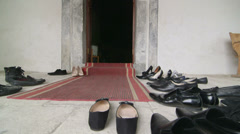 Entrance to prayer hall of the mosque - stock footage
