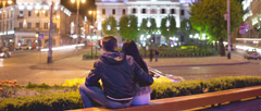 The couple at the night city square. Cinema 4K (4480 * 1920) 24 fps, RAW output Stock Footage