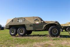 an old soviet btr-152 wheeled armored personnel carrier - stock photo