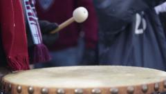 Indian drum tabla slow motion while snowing Stock Footage