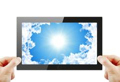 Stock Illustration of Black generic tablet pc, 3d render.