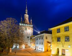 sighisoara, at night - stock photo