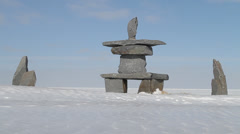 Inukshuk in Churchill, Manitoba Stock Footage