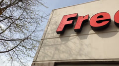 Fred Meyer Logo Above One Of Their Stores - stock footage