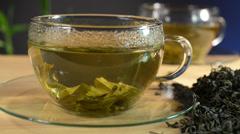 Loose tea and cup of tea,pan Stock Footage