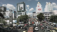 Stock Video Footage of Street Scene With Traffic And Cars In Bangkok - Thailand