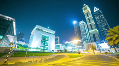 dubai financial centre night  time lapse - stock footage