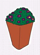 Pansies in clay pot Stock Illustration