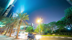 Green palm night time lapse from dubai centre Stock Footage