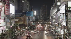 Busy Street With Traffic And Advertisement In Bangkok - Thailand - stock footage