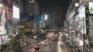 Stock Video Footage of Busy Street With Traffic And Advertisement In Bangkok - Thailand