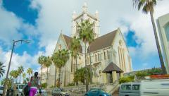 Stock Video Footage of Bermuda Anglican Cathedral on Church Street in Hamilton