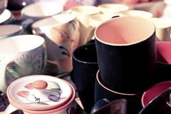 Ceramic cup in shop, retro style Stock Photos