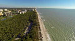 Flight over Naples beaches along the Gulf of Mexico Stock Footage