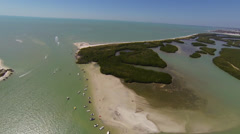 Flying high over Lover's Key and Dog Beach, Naples, FLorida - stock footage