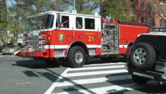DC fire engine responding, turns Stock Footage