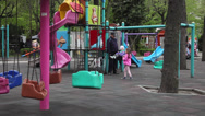 Stock Video Footage of Playground, children, kids, grandfather, swing, carousel, soap bubbles, spring
